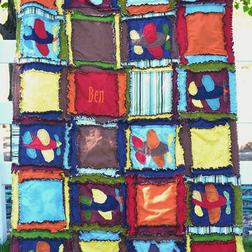 Baby Quilt PATTERN, Airplane Rag Quilt, Blanket, Easy PDF, instant download