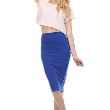 Career High Waist Solid Slim Straight Pencil Knee Length Stretch Knit Skirt