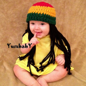 Baby Hats Rasta hat Beanie Wig Photo Props Toddler Costume, Baby Hat, Yellow Green Rasta, Baby Rasta Dreads, Black Dreadlocks, Baby Wig