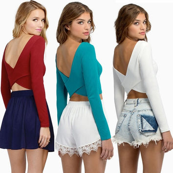 Sexy Woman Backless Bandage T shirt Cross Long Sleeves Short Crop Tops = 1956721156