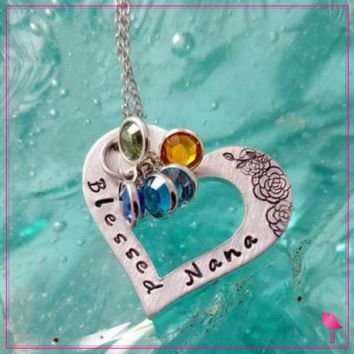 Blessed Nana, Grandma, Mimi, Nona, or Grams Bling Chicks Grand-kids Birthstone Necklace