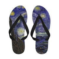 Van Gogh Starry Night, Vintage Post Impressionism Flip-Flops from Zazzle.com