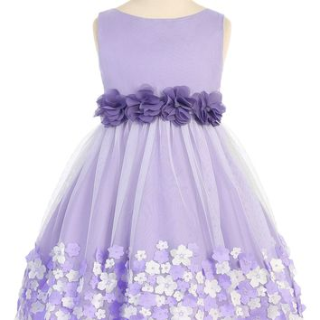 Girls Lavender Mesh Overlay Dress with Taffeta & Chiffon Flowers 2T-8