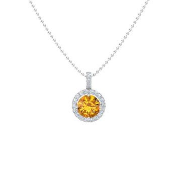 Round Citrine Sterling Silver Pendant with Diamond