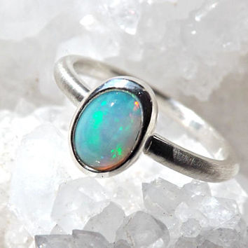 welo opal ring silver, opal engagement ring, delicate silver ring opal, opal promise ring, birthstone ring opal anniversary gift for her