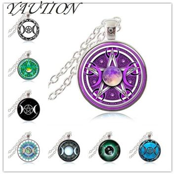 Triple Moon Goddess Pendant Pentagram Necklace Witch Jewelry Glass Dome Wiccan Necklace Silver Chain Charm Wicca Jewellery gift