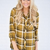Essential Mustard Plaid Button Up Top