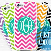 Monogram Phone Case - iPhone 5, 4, Samsung Galaxy s3 s4, Ipod Touch 4, 5 - Chevron - Customisable colours - 0002