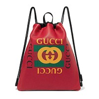 Gucci Trending Women Leather Stylish Graffiti Pattern Shoulder Bag Daypack Backpack(4-Color) Red I-MYJSY-BB