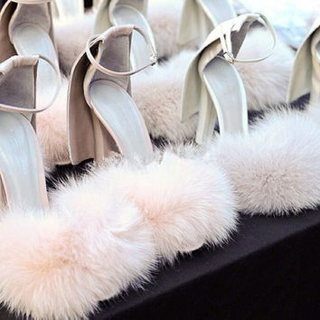 Pink  Puff Fuzzy Bedroom Stiletto Pumps