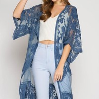 Duster Length Lace Cardigan - Blue