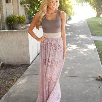Always In Love Lace Maxi Taupe/Mauve
