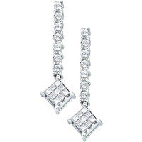 Princess Round Diamond Ladies Fashion Earrings in 14k White Gold 0.51 ctw