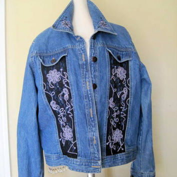 Blue Denim Embellished Embroidery Jacket Size PL