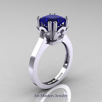 Classic 14K White Gold 2.0 Carat Princess Blue Sapphire Solitaire Wedding Ring R301E-14WGBS