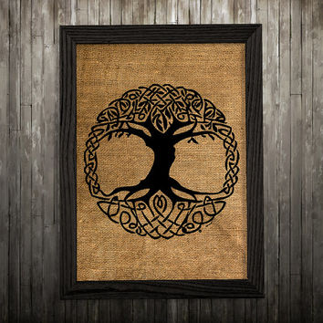 Celtic print Burlap art Celtic knot poster Tree print BLP584