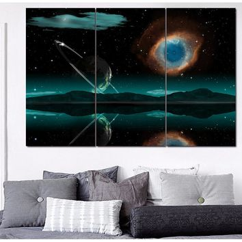 Panel Space Universe Painting Canvas Wall Art Panel Print Moon Framed UNframed