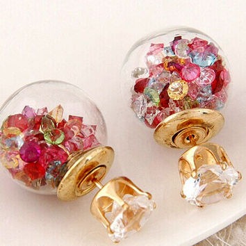 2016 Aros Piercing Double Pearl Rhinestone Stud Earring 5 Color for Women Crystal Golden Ear Clip boucle d'oreille E1538