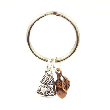 Peter Pan Kiss Acorn and Thimble Key Chain