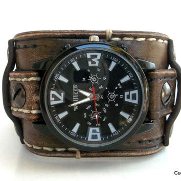 Distressed Leather Cuff Watch, Men's Watch, Mens Wrist Watch, Brown Bracelet Watch