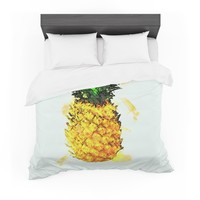 "Oriana Cordero ""Slice of Summer"" White Yellow Featherweight Duvet Cover"