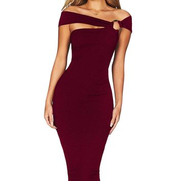 Burgundy Elegant Off Shoulder Bodycon Midi Dress