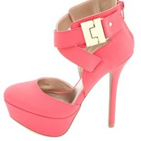 Gold-Plated Strappy Platform Heels by Charlotte Russe - Bright Pink
