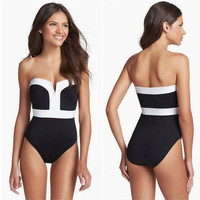Sexy Women's One Piece Swimsuit Swimwear Bathing Push Up Padded Bikini (Size: L, Color: Black & White) = 1955990020