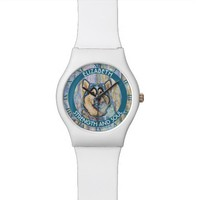 Abstract Blue Eyed Husky The Beautiful Dog Wrist Watches