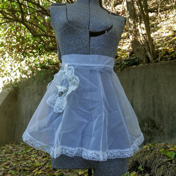 Vintage Sheer White Chiffon Wedding Bell Apron