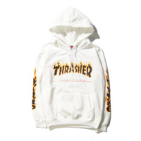 Street tide brand Supreme embroidery stamp couple loitering hooded sweater coat White