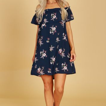 Off The Shoulder Floral Ruffled Shift Dress Navy