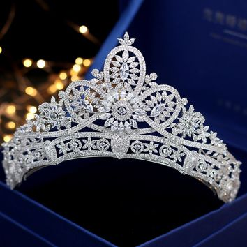 Micro Paved Full Cubic Zircon Tiara Zirconia Flower Crown Diadem Bridal Cosplay Hair Accessories