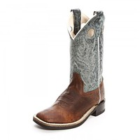 Old West Childrens Boys Square Toe Cowboy Boots Brown