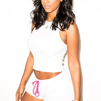 White Halter Sleeveless Crop Top with Elastic Drawstring Waist Short