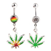 New 1Pc 316L Stainless Steel Maple Leaf Dangle Belly Navel Ring Weed Bar Button Women Sexy Body Piercing Jewelry