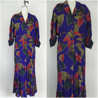 Vintage 1970s-1980s Purple Floral Leaf Fall Dress