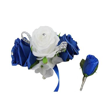Corsage and Boutonniere set: Horizon Blue and White Matching Wrist Corsage and Boutonniere - Quality Silk Flowers
