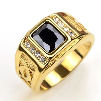 18K Real Gold Plated Finger Rings For Men With Black Stone Cubic Zirconia