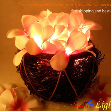 Basket of white and pink Frangipani flower string light with 3 m. wire and adapter for room and party decoration