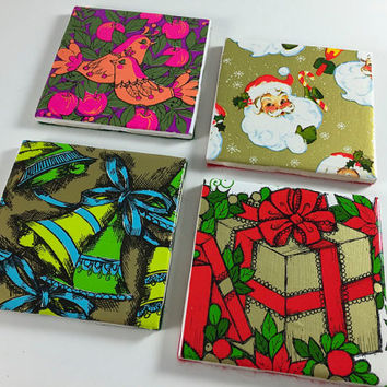 Vintage Christmas Wrapping Paper Handmade Coasters Set of 4