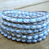 Beaded Leather Wrap Bracelet 5 Wrap with Crystal Clear Light Blue Swirl Czech Glass Beads on Gray Leather for Winter and Holidays