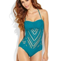 ROBIN PICCONE Teal Crochet One-Piece Swimsuit