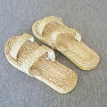 Woven slippers water hyacinth sandals beach shoes handmade slippers ,tribal slippers 902