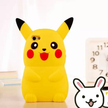 """3D Cartoon Pokemon Pocket Monsters Pikachu Case Silicone Cover For Apple iPhone 4 4S & SE 5 5S 5C & 6 6S 4.7"""" & 6 6S Plus 5.5"""""""
