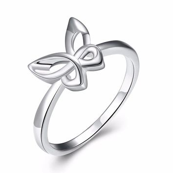 Simple Silver Ring Butterfly Bow Knot Ring for Women Gift