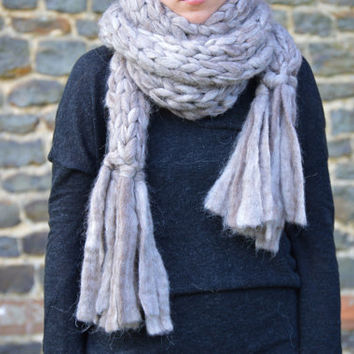 Chunky Knit Scarf - Pure Alpaca Scarf With Fringe