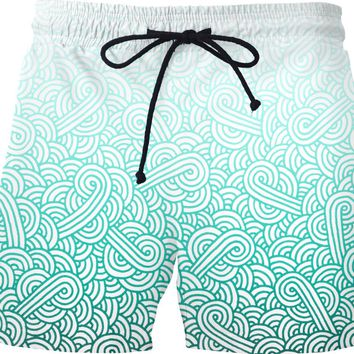 Gradient turquoise blue and white swirls doodles Swim Shorts