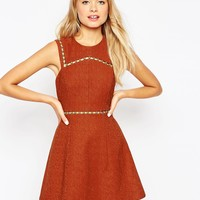ASOS A-Line Dress with Metal Trim