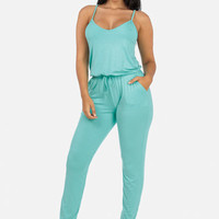 Jersey Jumpsuit with Pockets (Mint)